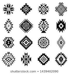 Set of indigenous tribal patterns Stock Images, Photos and Vector Images. Colorful geometric design, collection and decoration of Aztec and Indian culture. Flat vector logo isolated on white background. Similar harmonic brush - vector Native American Patterns, Native American Symbols, Geometric Symbols, Geometric Art, Tribal Symbols, Motif Navajo, Navajo Pattern, Navajo Print, Pattern Art