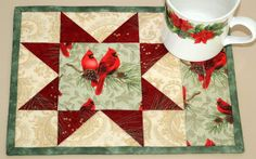 Quilted Christmas Winter Mug Rugs  Cardinals by RedNeedleQuilts, $20.00