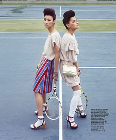 """Smashing Duo"" tennis fashion editorial"