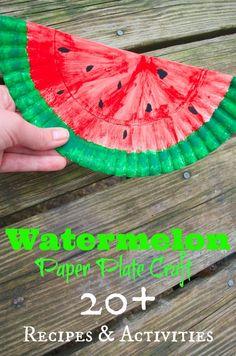 Watermelon Paper Plate Craft & Recipes & DIY Activities, DIY and Crafts, Watermelon Paper Plate Craft & Recipes & DIY Activities. Watermelon Crafts, Fruit Crafts, Food Crafts, Easy Crafts, Arts And Crafts, Watermelon Recipes, Summer Crafts For Toddlers, Toddler Crafts, Craft Activities