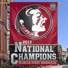 Florida State Seminoles (FSU) 2013 BCS National Champions 27'' x 37'' Vertical Banner