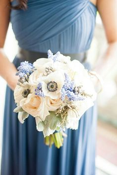 Lovely Bridesmaid's Florals Which Include: Ivory Roses, White Roses, White Anemones, Blue Grape Hyacinth, Silver Brunia, & Dusty Miller^^^^