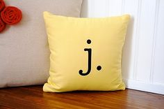 Today I am confessing my obsession with pillows. It is not a problem yet, but quite possibly could turn into one. Pillows warm up a house . Monogram Pillows, Custom Pillows, Diy Projects To Try, Home Projects, Yellow Pillows, Throw Pillows, Boys Room Decor, Buy Fabric