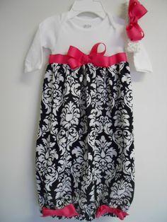 Boutique Infant Girls Black Damask Gown Layette by donnasboutique, $34.99