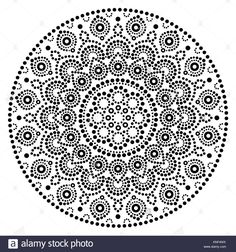 Mandala vector art, Australian dot painting black and white design, Aboriginal folk art bohemian style Stock Vector
