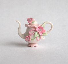 Miniature Shabby Pink Blossom Pedestal Teapot by ArtisticSpirit