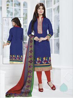 Blue Formal Chanderi Suit