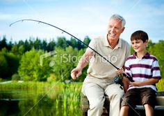 Grandfather and Grandson Fishing Royalty Free Stock Photo