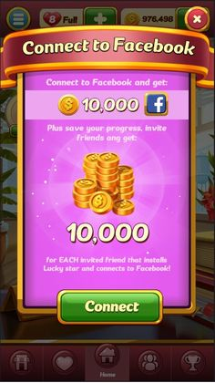 Game GUI Connect FB Popup #game #gui #connect #fb #popup Fb Login, Connect To Facebook, Game Gui, Invite Friends, Lucky Star, Popup, Mobile Game, Save Yourself, Texts