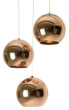 Copper pendant lamps- have been digging the retro lamp/chandelier idea lately