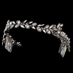 Ornate Antique Silver Crystal Wedding Headband