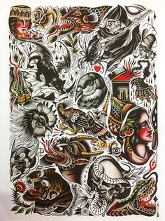 James McKenna & Pari Corbitt Split Tattoo Art Print
