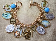 Religious Saint Medal Charm Bracelet nv1c by faithsymbol on Etsy, $28.99