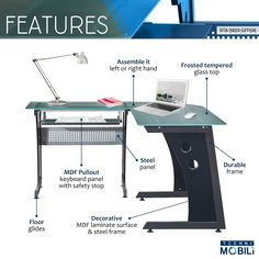 This elegant yet heavy-duty Techni Mobili L-Shape Glass Computer Desk features tempered safety glass measuring thick. The desk is also configurable so you can set it up to make you as productive as possible. L Shaped Office Desk, Top Computer, Contemporary Desk, Safety Glass, Mdf Wood, Floor Decor, Home Office Decor, Engineered Wood, Steel Frame