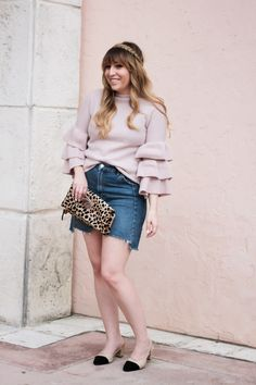 b2d075decf Miami fashion blogger Stephanie Pernas of A Sparkle Factor wearing a ruffle  sweater