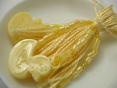 Yellow Baby Shower Beaded Tassel with Yellow by lizbethsgarden Cute for a baby shower! #dteam