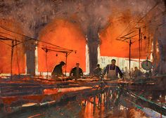 International Masters - Red Awnings: Venice Fish Market - Watercolor by Joseph Zbukvic Extremely Large View Sketch Painting, Watercolor Sketch, Watercolor Artists, Watercolor Landscape, Watercolour Painting, Watercolours, 7 Arts, Joseph Zbukvic, Blog Fotografia