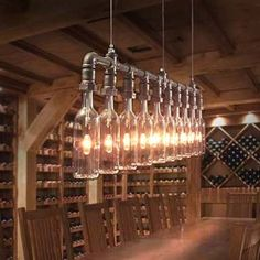 Wine // Beer Bottles Suspension Lamp. Pendant Light.