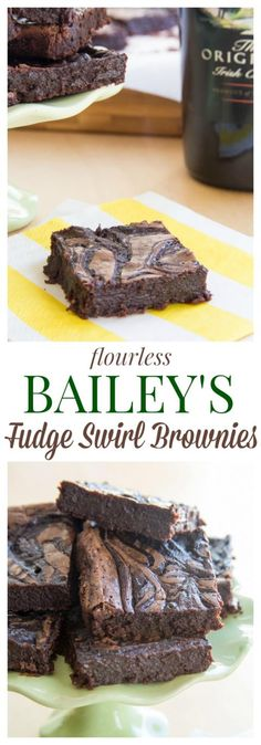 Flourless Bailey's Fudge Swirl Brownies - rich, fudgy brownies with a ripple of Irish Cream chocolate fudge make these utterly decadent and irresistable! | cupcakesandkalechips.com | gluten free