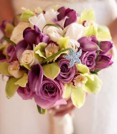 Bridal Bouquets and Wedding Flowers: Bouquet with purple roses