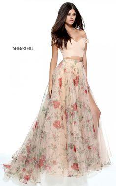 Nude Print Sherri Hill 51214 Two Piece Long Prom Dress