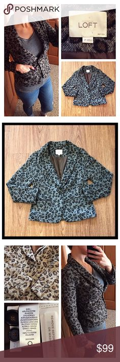 """Ann Taylor LOFT gray/brown/black leopard blazer 📦Same day shipping (as long as P.O. is open for business). ❤ Measurements are approximate. Descriptions are accurate to the best of my knowledge.  Ann Taylor LOFT leopard blazer: single button closure with functional pockets & 2 buttons on sleeves. Casual with jeans or work appropriate with brown/black skirt/slacks. 2 extra buttons on tags. Shell: 65% polyester, 21% acrylic, 6% rayon, 5% wool, 3% other fibers. Lining: 100% polyester. 18""""…"""