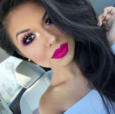 Obsessed! Hot pink lips and soft pink eyes to match