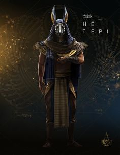 View an image titled 'Hetepi Art' in our Assassin's Creed Origins art gallery featuring official character designs, concept art, and promo pictures. Assassins Creed Origins, Assassins Creed Odyssey, Egyptian Mythology, Egyptian Art, Dark Fantasy, Egypt Concept Art, Tomb Kings, Amoled Wallpapers, Gods And Goddesses