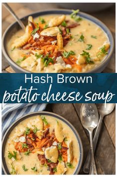 Hash Brown Potato Soup (Potato Cheese Soup) This HASH BROWN POTATO CHEESE SOUP is an absolute Winter MUST MAKE! The ultimate comfort food soup made in minutes. So cheesy and delicious. Topped with sauteed carrots and bacon for extra flavor! Potato Cheese Soups, Cheesy Potato Soup, Loaded Baked Potato Soup, Hashbrown Potato Soup Crockpot, Frozen Hashbrown Recipes, Bacon Soup, Classic Potato Soup Recipe, Hash Brown Potato Soup, Potato Rice