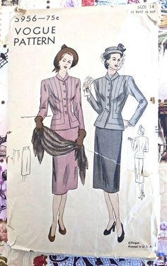 Vogue 5956  Vintage 1940s Two Piece Suit Pattern with by Fragolina