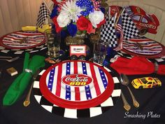 The Sunday before Memorial Day is always a day I spend in front of the TV watching motorsports. The day always starts with breakfast watch. Party Themes, Party Ideas, 4th Of July Wreath, Memorial Day, Tablescapes, Monster Trucks, Racing, Plates