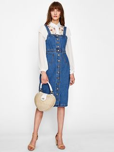 1cb6d4f82f Button Front Strap Denim Overall Dress