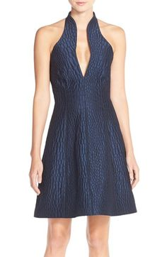 Halston Heritage Halter Jacquard Fit & Flare Dress available at #Nordstrom