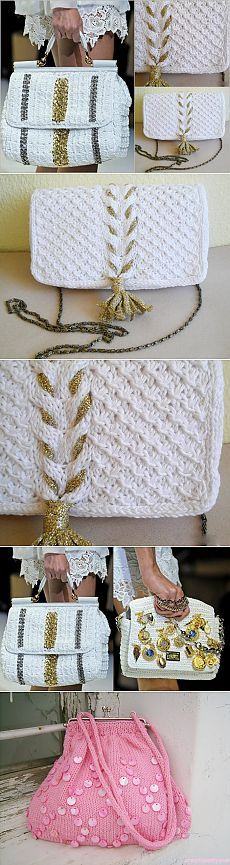 Knitted bags are not out of fashion . Crochet Clutch, Crochet Handbags, Crochet Purses, Love Crochet, Diy Crochet, Crochet Stitches, Crochet Patterns, Crochet World, Macrame Bag