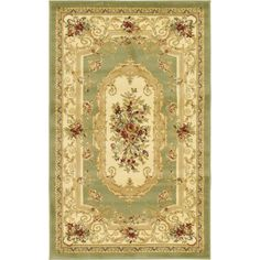 Traditional Versailles Green 3 ft. 3 in. x 5 ft. 3 in. Area Rug