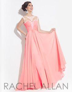 Rachel ALLAN Prom - 6871  High mesh neckline with lace applique on bodice and a chiffon skirt  lilliansonline.com