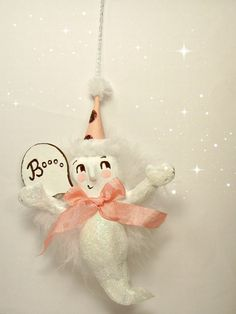 Ghost ornament paper clay ghost ooak art doll by sugarcookiedolls