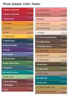 Namen der Farben in Paletten. - #der #Farben #Namen #Paletten #warm