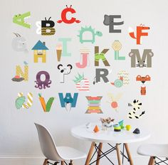 26 INDIVIDUAL LETTERS - approx H Perfect for a children's room, nursery, or daycare. Fully removable and reusable wall decals that will brighten and add character to any room.