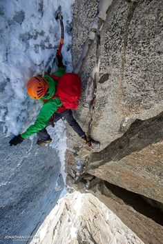 Ben Briggs on the thin top pitch of Jottnar on the Aiguille du Midi Jon Griffith Photography
