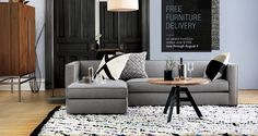 Love this room by CB2.com! I'm now sold on recovering my couch in gray.