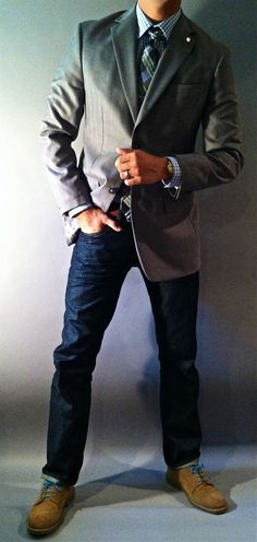 groomsmen in jeans sports coat and tie | Jacket + Jeans + Shoes ♥