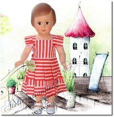 Vêtement poupée MODES ET TRAVAUX juin 1953, Robe pour Françoise et autres 40 cm