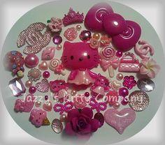 Hot Pink Blink HELLO KITTY Kawaii Resin /Cabachon DIY kit