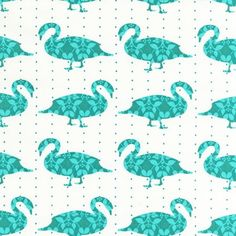 BLUE SWANS From Robert Kaufman's Modern Whimsy Collection - 1 Yard Organic Cotton Fabric. $9.25, via Etsy.
