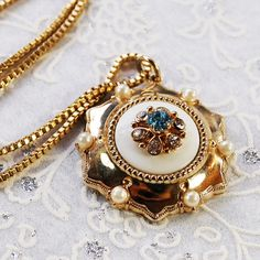 Vintage Pendant Necklace, Gold Flower, Blue Rhinestones, White Pearls, Box Chain, Designer CORO, 1950s Mad Men, Wedding Bridal Jewelry by AVintageJewelryChest, $59.00