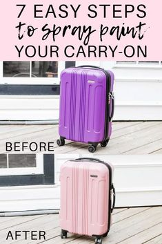 Hannah, from the popular Edmonton lifestyle blog Honey  Betts, shares the 7 easy steps to spray painting your carry-on suitcase! This is a super easy way to make luggage identifiers for cheap and decorate your luggage! #DIY #SprayNewLife  @honeyandbetts @rustoleumcanada