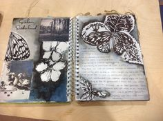 Art Sketchbook - artist study focusing on monochrome painting techniques with ink drawings of butterflies & flowers // student sketch book