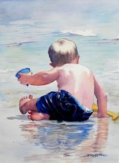 """""""Little Boy on Wet Beach"""" - Art - by Sue Lynn Cotton Watercolor Portraits, Watercolour Painting, Painting & Drawing, Watercolours, Beach Watercolor, Watercolor Trees, Watercolor Pencils, Watercolor Landscape, Painting People"""