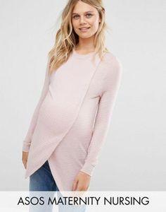 44cb0e2dafa832 $51.00 ASOS Maternity NURSING Wrap Over Sweater in Textured Stripe Maternity  Nursing, Maternity Clothing,